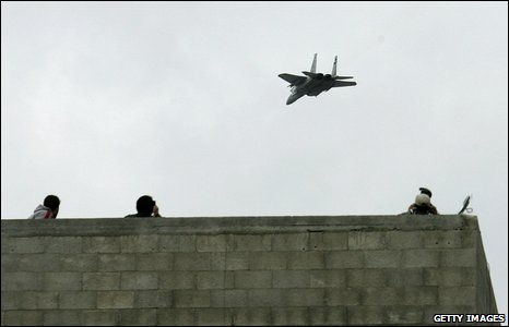Israeli jet flies over Jabaliya during funeral from Nizar Rayan and family