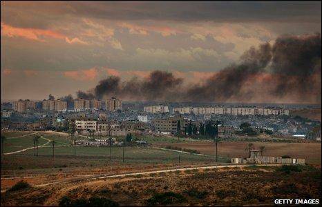 Smoke rises from Israeli bombing in northern Gaza