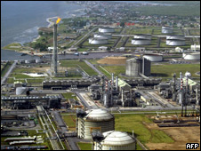 "Shell Oil""s oil and gas terminal on Bonny Island in southern Nigeria""s Niger Delta"