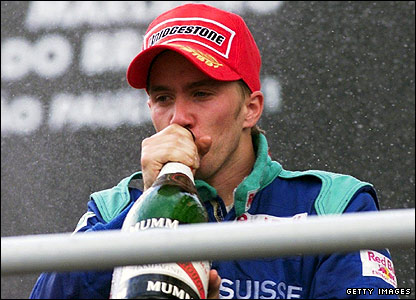 Nick Heidfeld celebrates third at the 2001 Brazilian Grand Prix