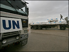 Trucks carrying UN aid at Rafah, Gaza Strip - 1/1/2009