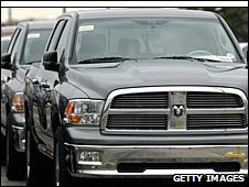 Dodge Ram trucks sit parked outside a Chrysler factory in Fenton, Missouri.