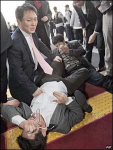 Injured opposition lawmakers in Seoul
