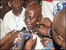 Nana Akufo-Addo talks to reporters