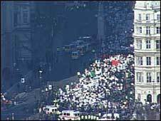Demonstrators in central London