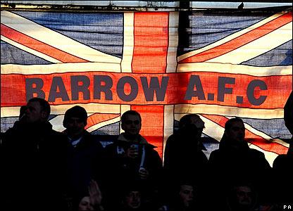 Barrow fans at the Riverside Stadium