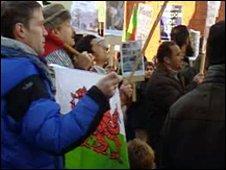 Protestors in Bangor, Gwynedd