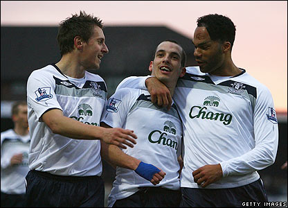 Leon Osman is congratulated by his Everton team-mates