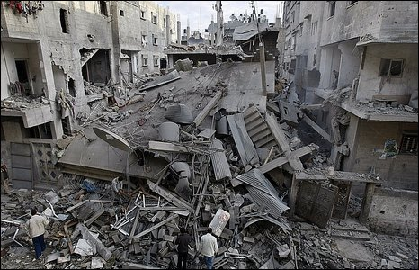 Damage in Gaza from an Israeli strike