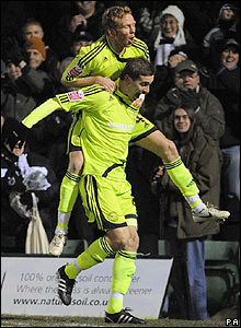 Steve Davies celebrates scoring Derby's winner from the spot