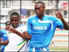 Somalia's Hassan Ali (right) Mrisho Ngassa of Tanzania(left)