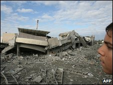 The damaged American International School in Gaza