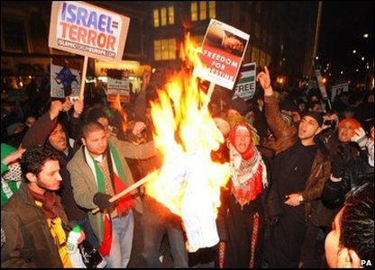 A demonstration at the Israeli Embassy in Kensington, London