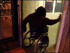 A wheelchair user