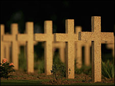 Crosses mark the graves of unknown soldiers killed in the Battle of Somme
