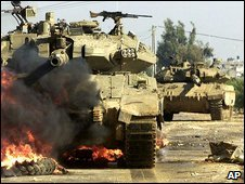 Israeli tanks in Gaza, 2001
