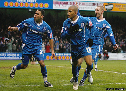 Gillingham's Simeon Jackson celebrates scpring the equaliser