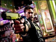 Jeffrey Dean Morgan as The Comedian in a scene from the Watchmen film