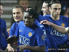 Danny Welbeck is mobbed after putting Man Utd ahead