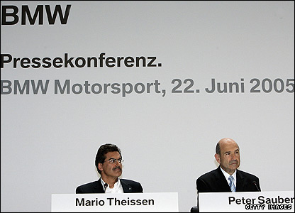 BMW motorsport director Mario Theissen (left) and Peter Sauber