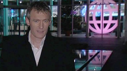 Jeremy Vine in front of Panorama logo