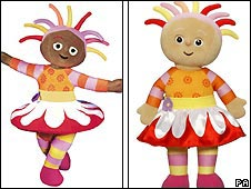 Upsy Daisy as she appears in the show (left) and in doll form (right)