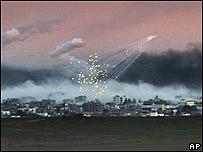 Explosiones sobre la Franja de Gaza