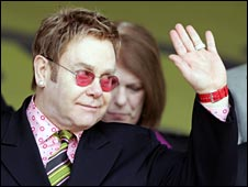 Sir Elton John, pictured at a match, used to be chairman of Watford