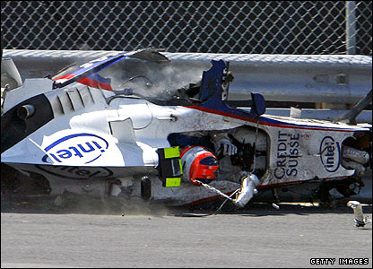 Robert Kubica suffers a high-speed crash at the 2007 Canadian Grand Prix