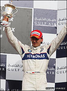 Robert Kubica collects third place at the 2008 Bahrain Grand Prix