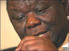 Morgan Tsvangirai in Botswana on 19 December 2009