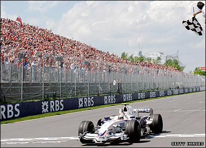 Robert Kubica takes the chequered flag at the 2008 Canadian Grand Prix