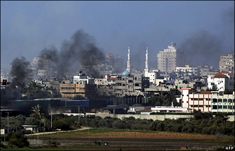 Smoke rises from Gaza City