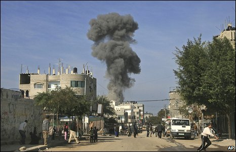 Smoke rises from the streets of Rafah, in the south of the Gaza Strip