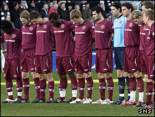 Hearts players pay their respects to the late George Miller