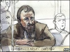 Court sketch of Christian Ganczarski, 5/1/2009