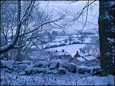 A snowy scene