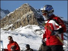A skier in a helmet in Zermatt