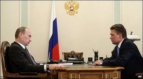 Russian Prime Minister Vladimir Putin and Gazprom chief Alexei Miller, 5/1/09