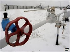 A gas storage and transit point on the main gas pipeline from Russia in the village of Boyarka near the capital Kiev, Ukraine