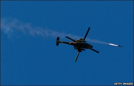 An Israeli attack helicopter launches a missile into the Gaza Strip on 6 January 2009