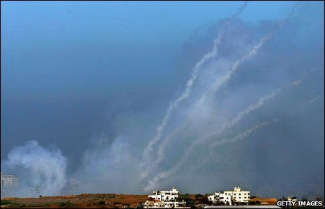 A barrage of four Palestinian Qassam rockets leave smoke trails in the sky as they are fired by Hamas militants on 6 January 2009.