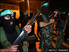 Hamas militants parade in Gaza