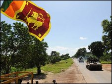 Sri Lankan flag near Kilinochchi