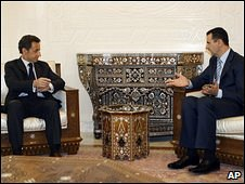 Nicolas Sarkozy meet Bashar Assad in Damascus (6 January 2009)