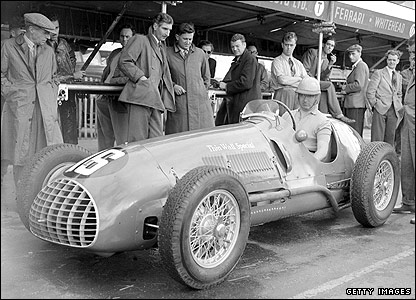 Alberto Ascari pictured at an event at Silverstone in 1950