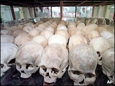 "Human skulls at one of the Khmer Rouge's ""killing fields"""