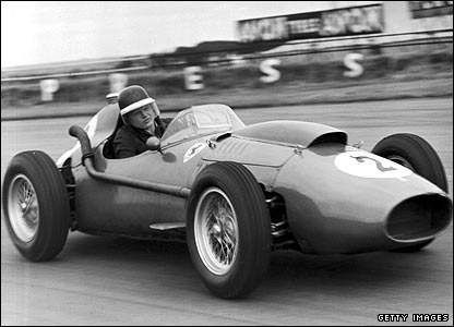 Mike Hawthorn during practice for the British Grand Prix at Silverstone in 1958