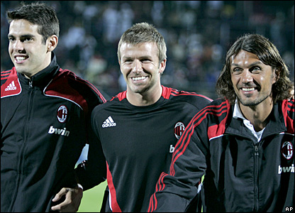 Kaka, David Beckham and Paolo Maldini