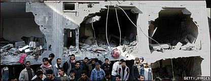 Un edificio destruido en la Franja de Gaza